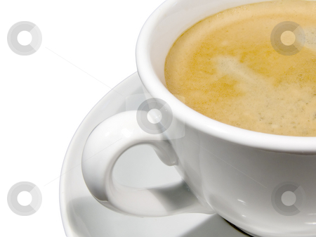 Cup of Coffee stock photo, A cup of coffee with foam on a white background by Jo De Vulder