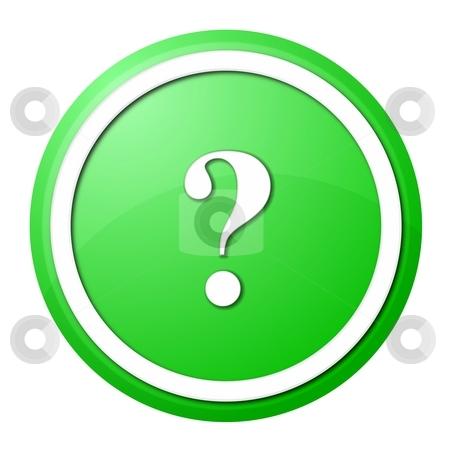 Green question mark round button stock photo, Round question mark button with white ring for web design and presentation by Henrik Lehnerer