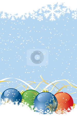 Christmas background stock vector clipart, Christmas background with snow and balls for your design by Vadym Nechyporenko