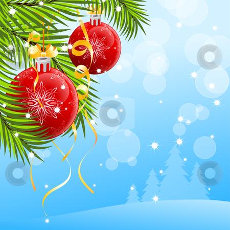 Christmas background stock vector clipart, Abstract Christmas background with Christmas tree and Christmas Balls by Vadym Nechyporenko