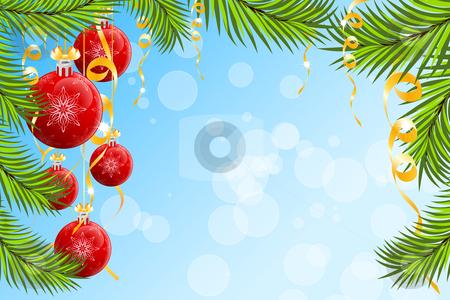 Christmas background stock vector clipart, Christmas background with Christmas tree branch and Christmas Balls by Vadym Nechyporenko