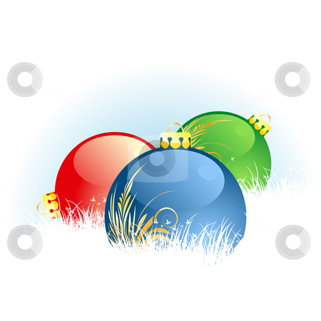 Christmas balls stock vector clipart, Christmas background with Christmas balls in grass by Vadym Nechyporenko