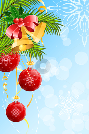 Christmas background stock vector clipart, Christmas background with Christmas balls and bells by Vadym Nechyporenko