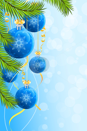Christmas background stock vector clipart, Christmas background with Christmas tree and Christmas Balls by Vadym Nechyporenko
