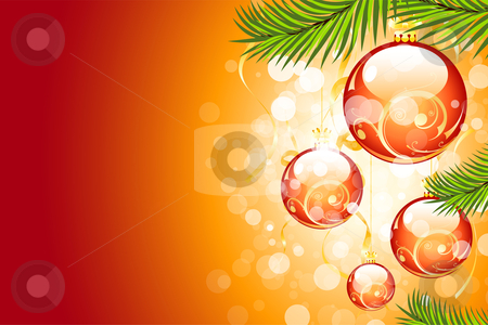 Christmas background stock vector clipart, Christmas background with sparkles and Christmas balls for your design by Vadym Nechyporenko