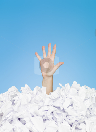 Buried human stock photo, Human hand buried in white paper by Anne-Louise Quarfoth