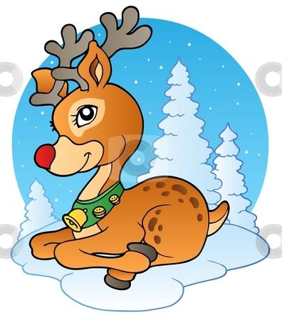Young Christmas reindeer outdoor 1 stock vector clipart, Young Christmas reindeer outdoor 1 - vector illustration. by Klara Viskova