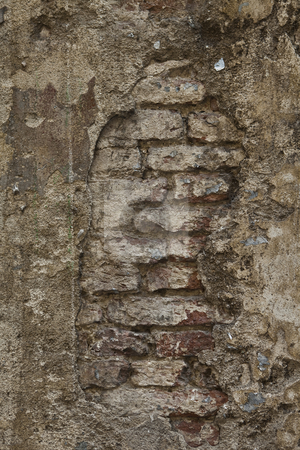 Brick wall stock photo, Worn, almost ruined brick wall by Anne-Louise Quarfoth