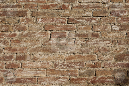 Brick wall stock photo, Red brick wall full frame by Anne-Louise Quarfoth