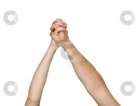 Holding hands stock photo, Friends holding Hands isolated on white background by Anne-Louise Quarfoth