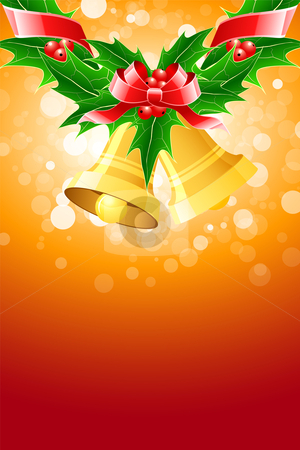 Christmas bells stock vector clipart, Christmas background with Christmas bells and mistletoe for your design by Vadym Nechyporenko