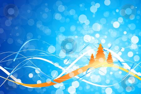 Christmas background stock vector clipart, Christmas background with Christmas tree and strips for your design by Vadym Nechyporenko