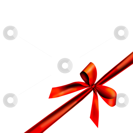 Red gift ribbon stock photo, A red ribbon with a knot isolated on white by Viktor Thaut