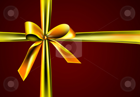 Gift with golden ribbon stock photo, A golden ribbon with a knot isolated on red by Viktor Thaut