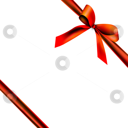 Gift packaging with red ribbon stock photo, A red ribbon with a knot isolated on white by Viktor Thaut
