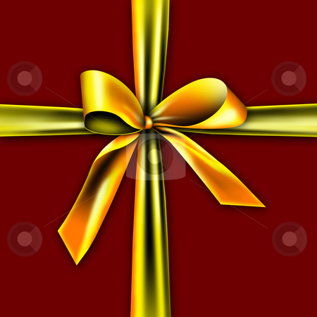 Beautiful gift box stock photo, A golden ribbon with a knot isolated on red by Viktor Thaut