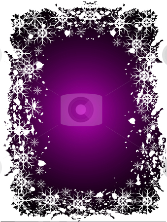 An abstract Christmas vector illustration  stock vector clipart, An abstract Christmas vector illustration with grunge snowflakes on a purple background with room for text by Mike Price