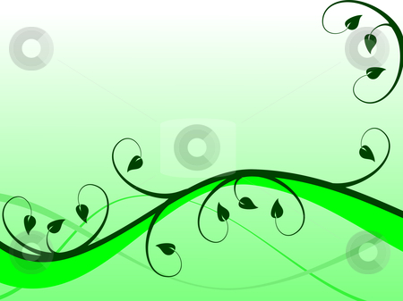 An abstract green floral vector background  stock vector clipart, An abstract green floral vector background illustration in landscape orientation with room for text by Mike Price