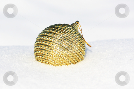 Christmas ball  stock photo, Christmas ball in snow by Viktor Thaut