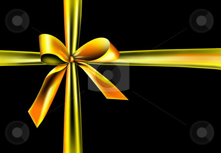 Golden ribbon on a black background stock photo, A golden ribbon with a knot isolated on black by Viktor Thaut