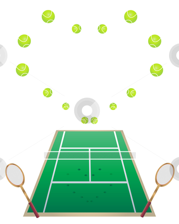 Love tennis stock vector clipart, An illustration of a tennis court with tennis rackets and tennis balls in a heart shape by Mike Smith