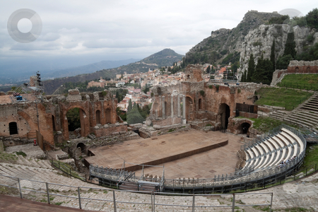 Greak Theater stock photo, The old Greek and then Roman theater in Messina, Italy by Kevin Tietz