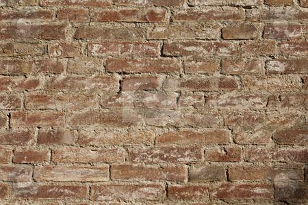 Brick wall stock photo, Red brick wall full frame by Anne-Louise Quarfoth
