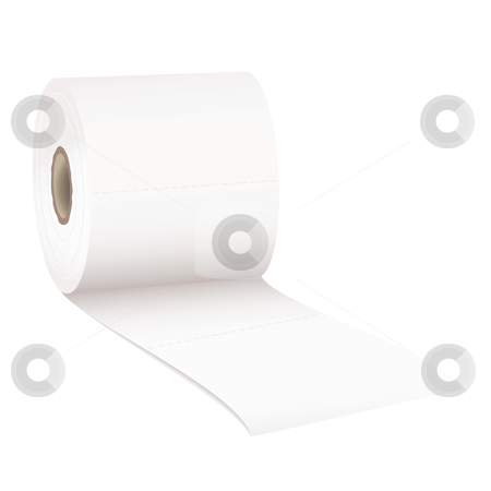 Toilet rolled stock vector clipart, Single roll of white rolled toilet paper with room for text by Michael Travers