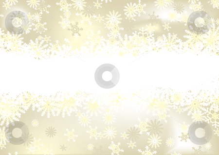 Christmas snowflake gold stock vector clipart, Golden christmas background with snow flakes and room for text by Michael Travers