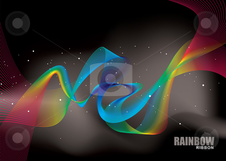 Rainbow ribbon bright stock vector clipart, Brightly colored rainbow ribbons with black space background by Michael Travers
