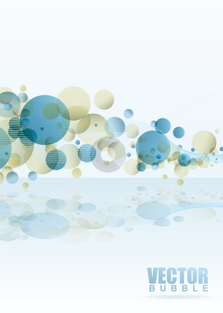 Rainbow subtle bubble stock vector clipart, Subtle bubble background with wave pattern and reflection by Michael Travers