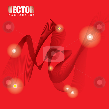 Stella red ribbon background stock vector clipart, Red background space concept with wave and neon light effect by Michael Travers