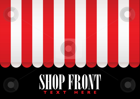 Shop front awning stock vector clipart, Red and white strip shop awning with space for company name by Michael Travers