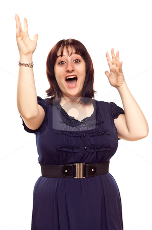 Happy Young Caucasian Woman with Hands in Air on White stock photo, Happy Young Caucasian Woman with Hands in the Air Isolated on a White Background. by Andy Dean