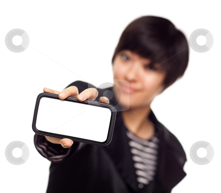 Smiling Young Mixed Race Woman Holding Blank Smart Phone stock photo, Smiling Young Mixed Race Woman Holding Blank Smart Phone Out - Focus is On the Phone Ready for Your Own Message. by Andy Dean
