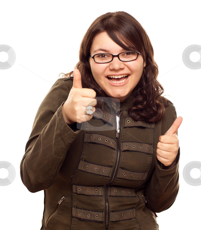 Excited Young Caucasian Woman With Thumbs Up stock photo, Excited Young Caucasian Woman With Two Thumbs Up Isolated on a White Background. by Andy Dean
