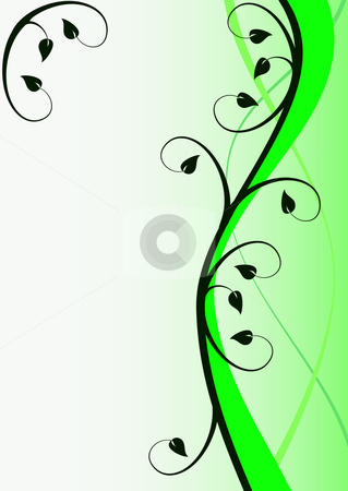 Green Abstract Floral Background stock vector Register Here Button Orange