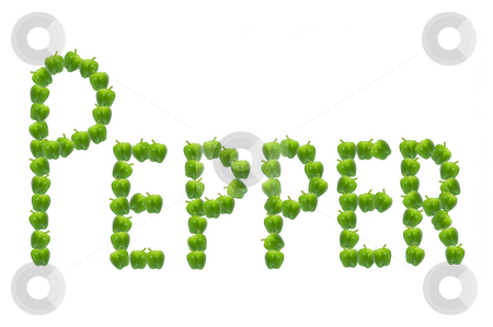 Pepper. stock photo, The word 'pepper' spelled out using many green peppers. by Samantha Craddock