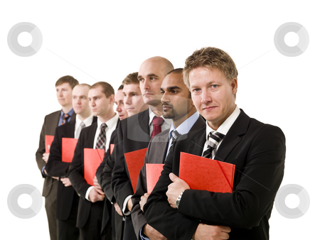 Business men with documents stock photo, Group of business men with red documents isolated on white background by Anne-Louise Quarfoth