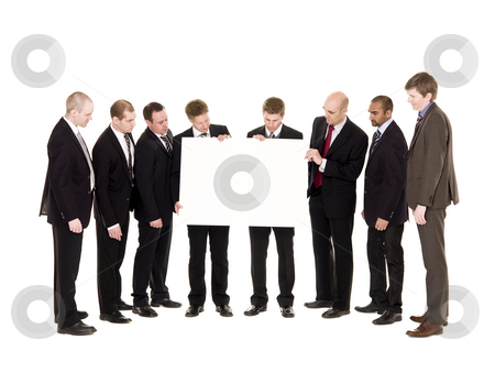Group of men with a clean sign stock photo, Group of men with a clean sign isolated on white background by Anne-Louise Quarfoth
