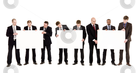 Man with clean signs stock photo, Men with clean signs isolated on white background by Anne-Louise Quarfoth