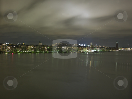 Stockholm City skyline stock photo, Stockholm City skyline and water at night by Anne-Louise Quarfoth