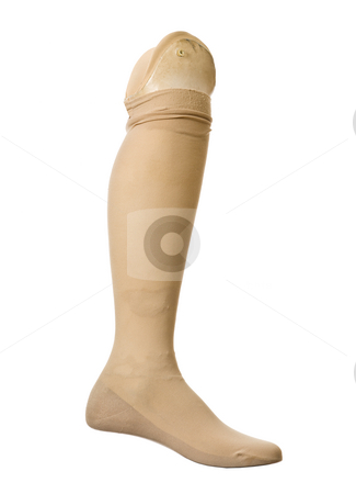Old prosthetic leg stock photo, Old prosthetic leg isolated on a white background by Anne-Louise Quarfoth