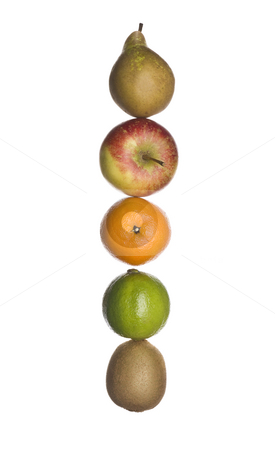 The letter 'I' made out of fruit stock photo, The letter 'I' made out of fruit isolated on a white background by Anne-Louise Quarfoth