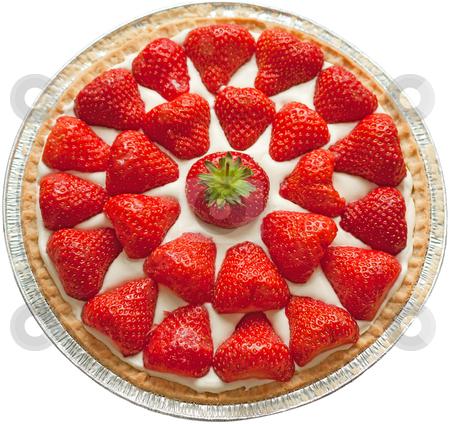 Strawberry Cheesecake stock photo, Homemade strawberry cheese cake isolated on white. by Brigida Soriano