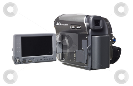 Hand held video camera stock photo, Hand held video camera isolated on a white background by Anne-Louise Quarfoth