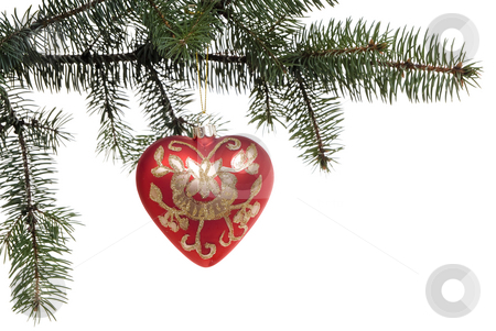Christmas decoration stock photo, Red  heart bauble on branch on white background by Jolanta Dabrowska