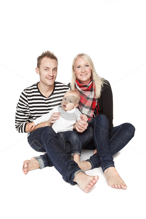 Happy family portrait  stock photo, Happy family portrait isolated against a white background by Anne-Louise Quarfoth