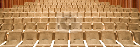 Empty seats stock photo, Empty seats in a row in a university hall by Anne-Louise Quarfoth