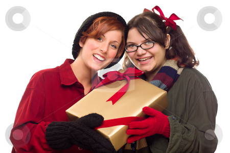 Two Pretty Girlfriends Holding A Holiday Gift stock photo, Two Pretty Girlfriends Holding A Holiday Gift Isolated on a White Background. by Andy Dean